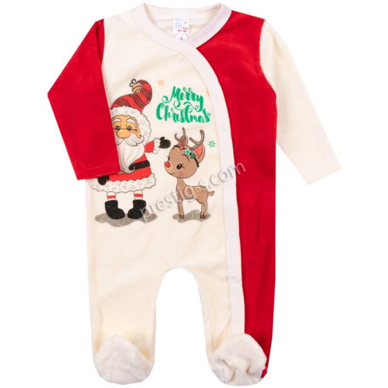 Коледен гащеризон Дядо Коледа с Еленче /50-68/ плюш