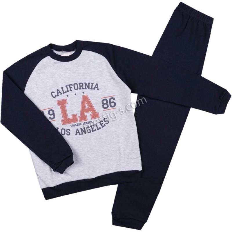 Пижама д.р. Момче California сив м./т.синьо  /122-152/ интерлог