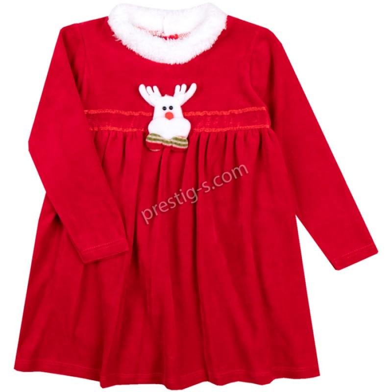 Коледна рокля Еленче /86-98/ плюш