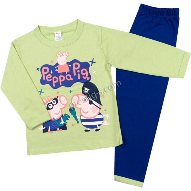 Пижама д.р. Джордж в зелено/я.синьо /86-122/ сингъл