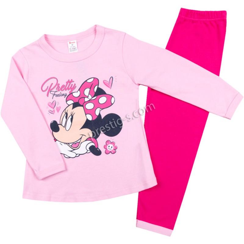 Пижама д.р. Момиче с панделка в розово/циклама /80-128/ интерлог