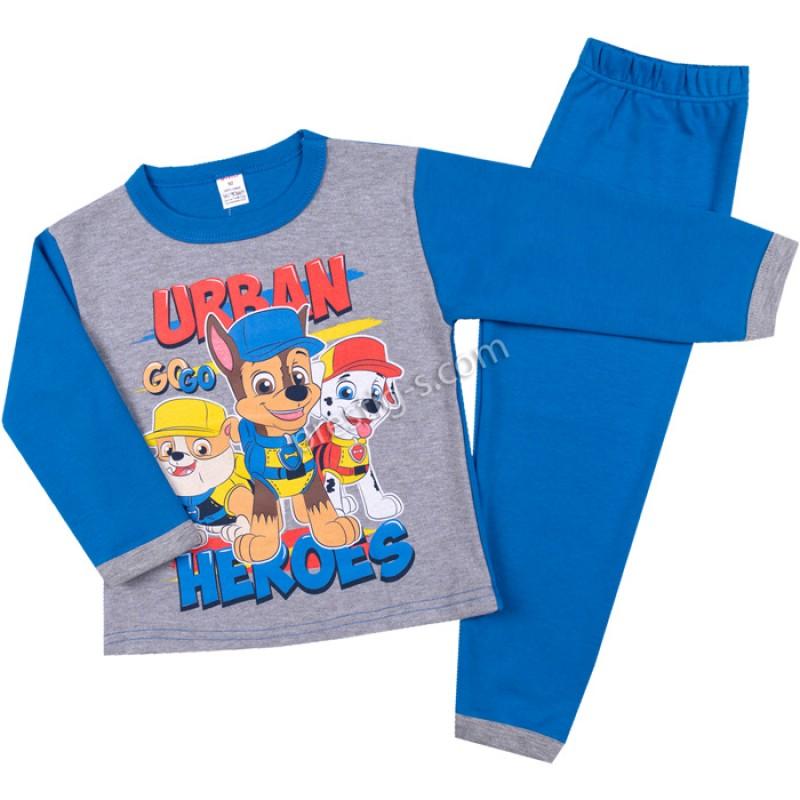 Пижама д.р. Urban в сив меланж/синьо /86-116/ интерлог