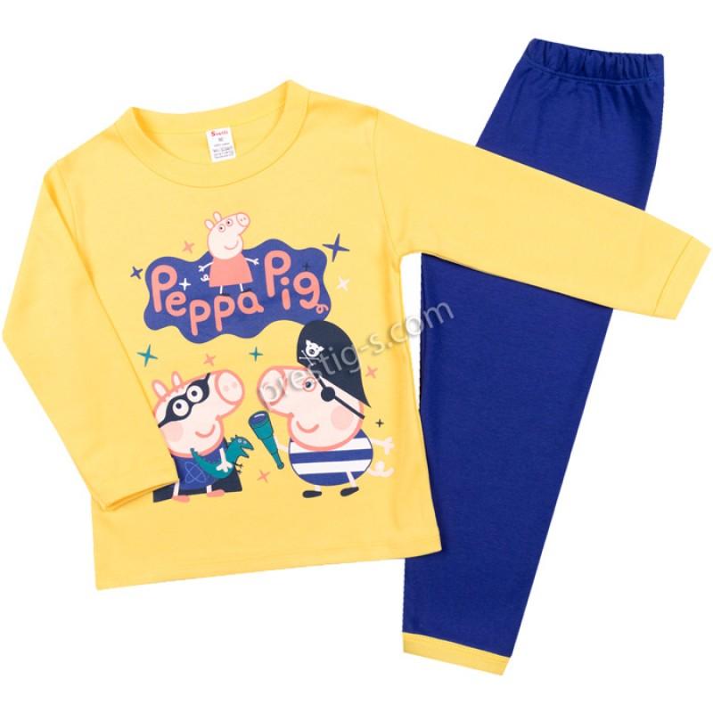 Пижама д.р. Джордж в жълто/т.синьо /86-128/ интерлог