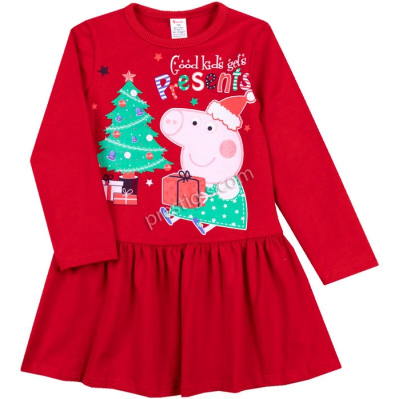 Коледна рокля Пепи в червено /86-98/ л.вата-ликра