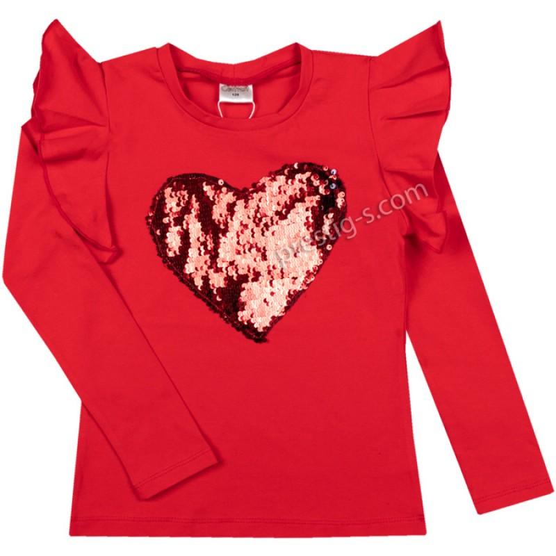 Блуза Сърце с пайети в червено /128-158/ м.601 369