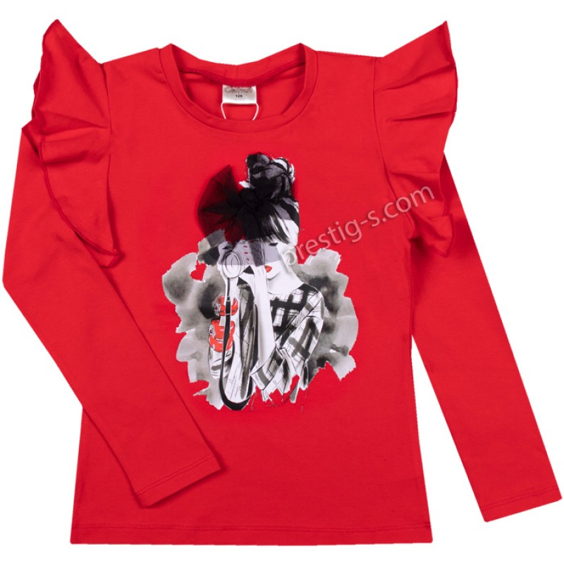 Блуза Момиче с фотоапарат в червено /128-158/ м.601 369