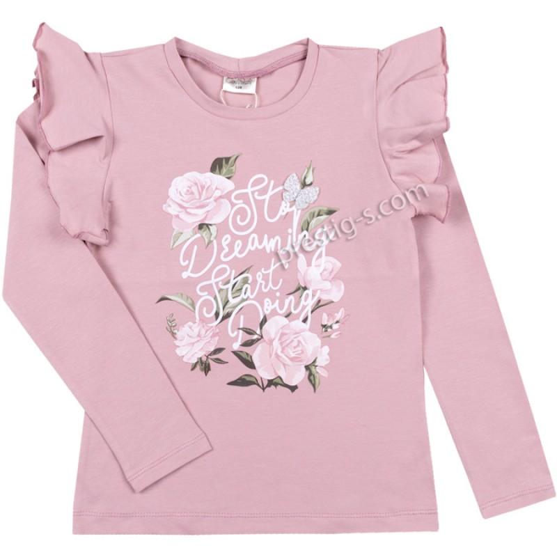 Блуза Рози и пеперуди в пепел /128-158/ м.601 369