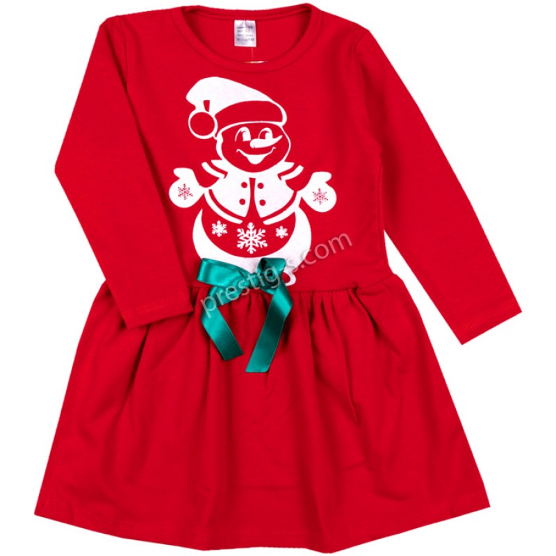 Коледна рокля Снежко в червено /92-116/ л.вата-ликра
