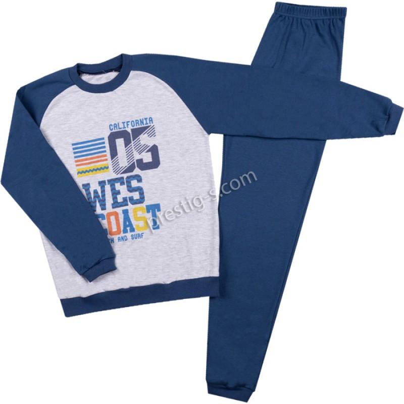 Пижама д.р. Момче California05 в индиго /122-152/ интерлог