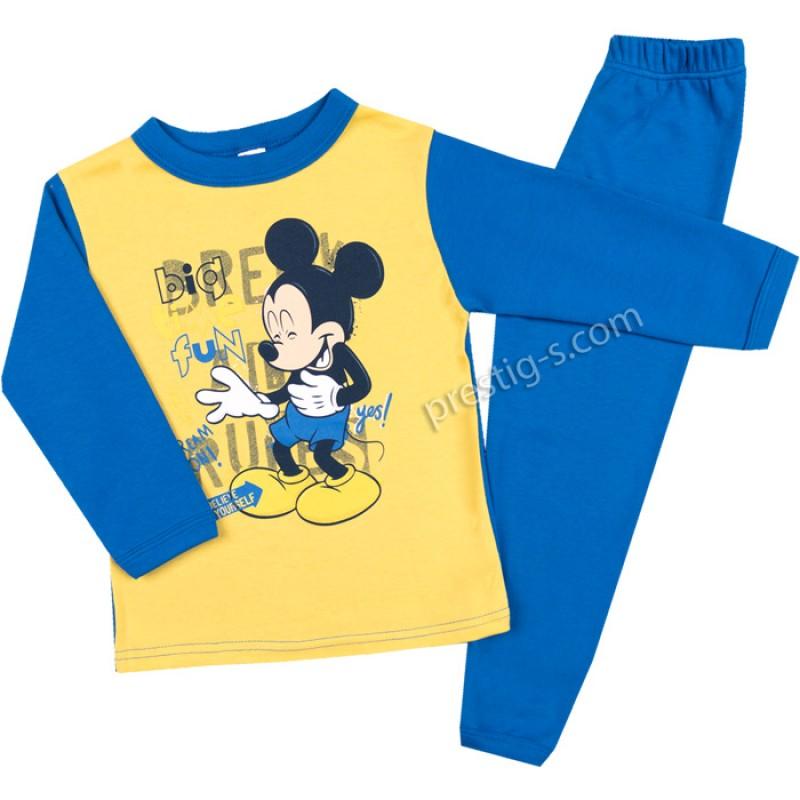 Пижама д.р. Момче в жълто/насит. синьо /68-128/ интерлог