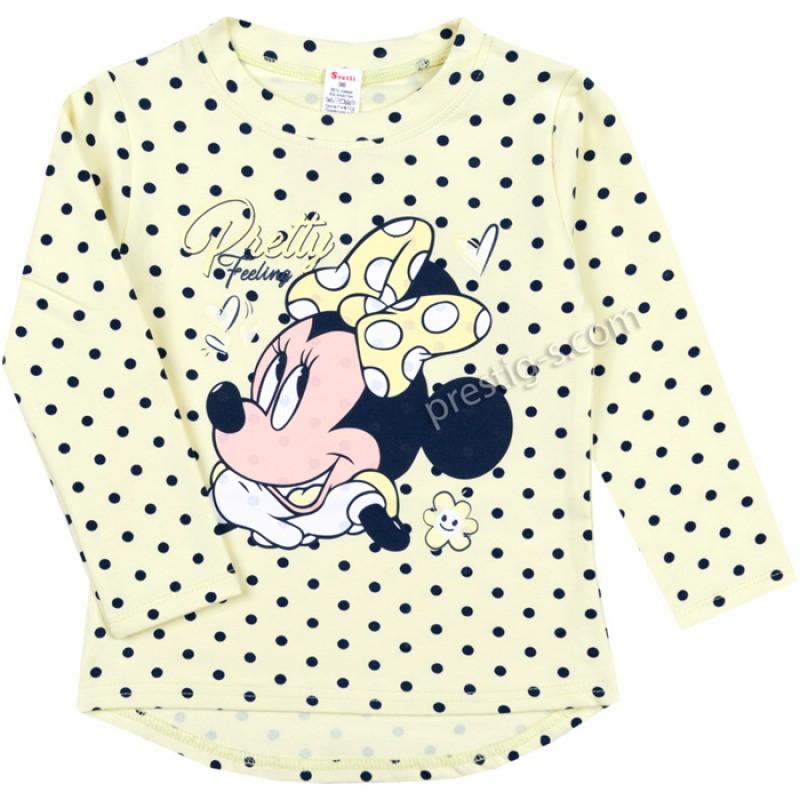 Блуза /туника/ д.р. Момиче с панделка и точки в св.жълто /86-116/ л.вата ликра