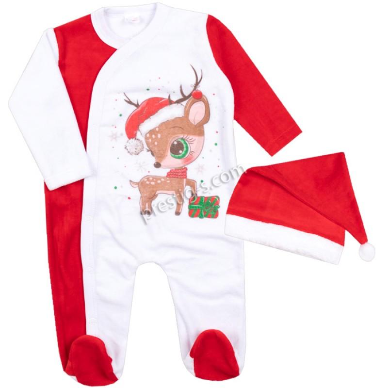 Коледен гащеризон Малкото Еленче с шапка в бяло /50-68/ плюш