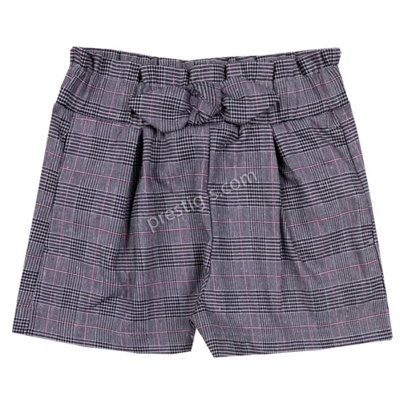 Къси панталонки Каре с панделка в сиво/розово /98-122/ м.201 371