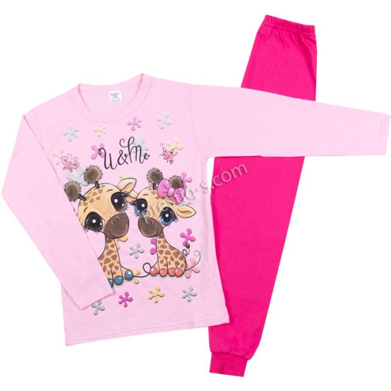 Пижама д.р. Жирафчета в розово /122-134/ сингъл