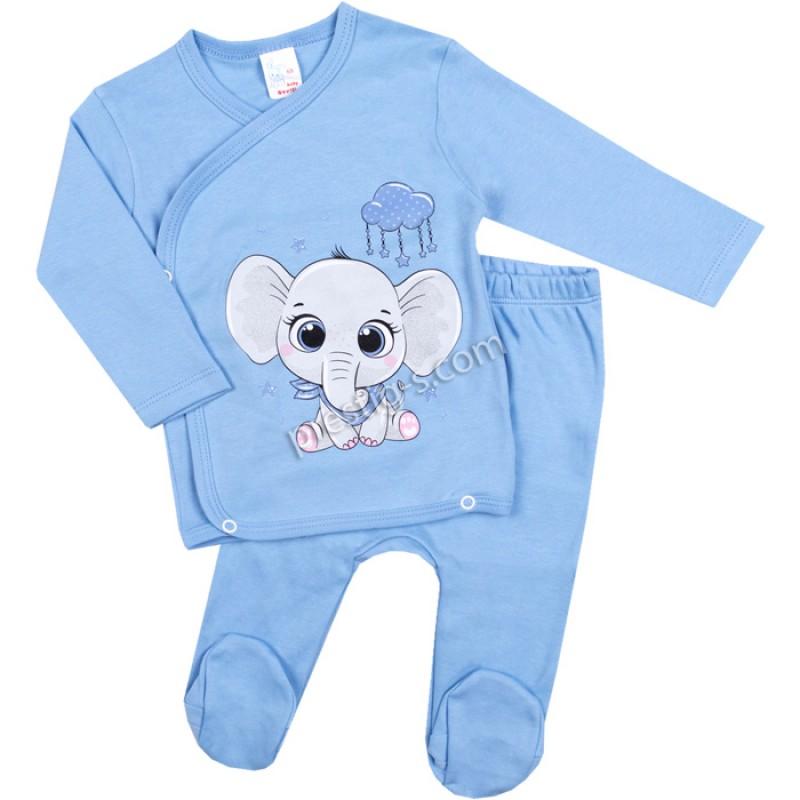 Бебешки комплект 2 ч. Слонче с облак в синьо /50-68/ интерлог