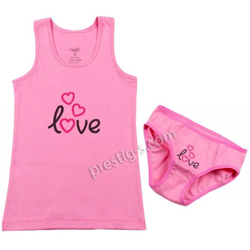 Комплект бельо LOVE в розово /122-134/ м.307-рипс