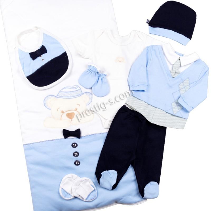 Комплект за изписване 8 ч. Момче с вратовръзка в син/т.синьо - интерлог