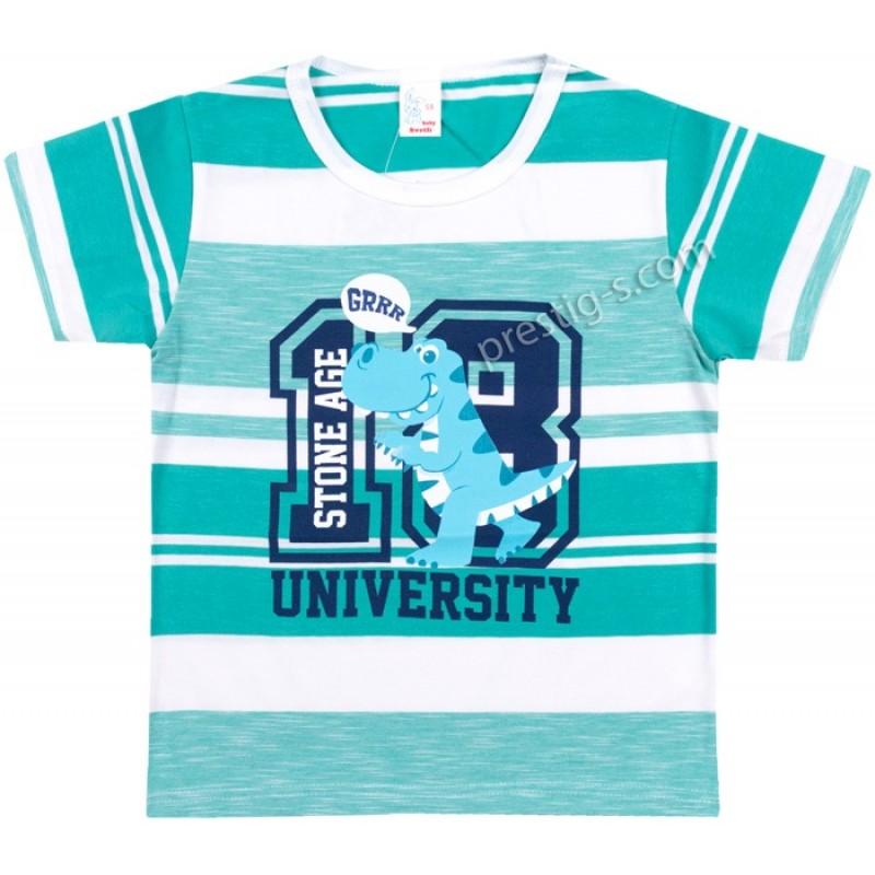 Тениска Дино в зелено райе /68-80/ ликра