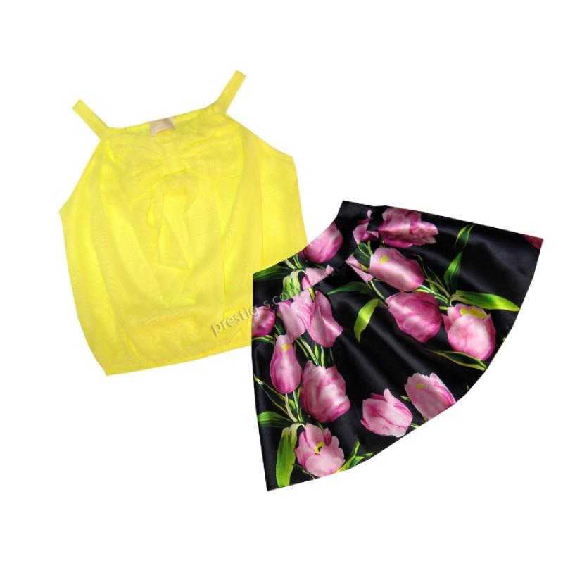 Комплект момиче в жълто Цветя /128-164/ м.800 912/912-1
