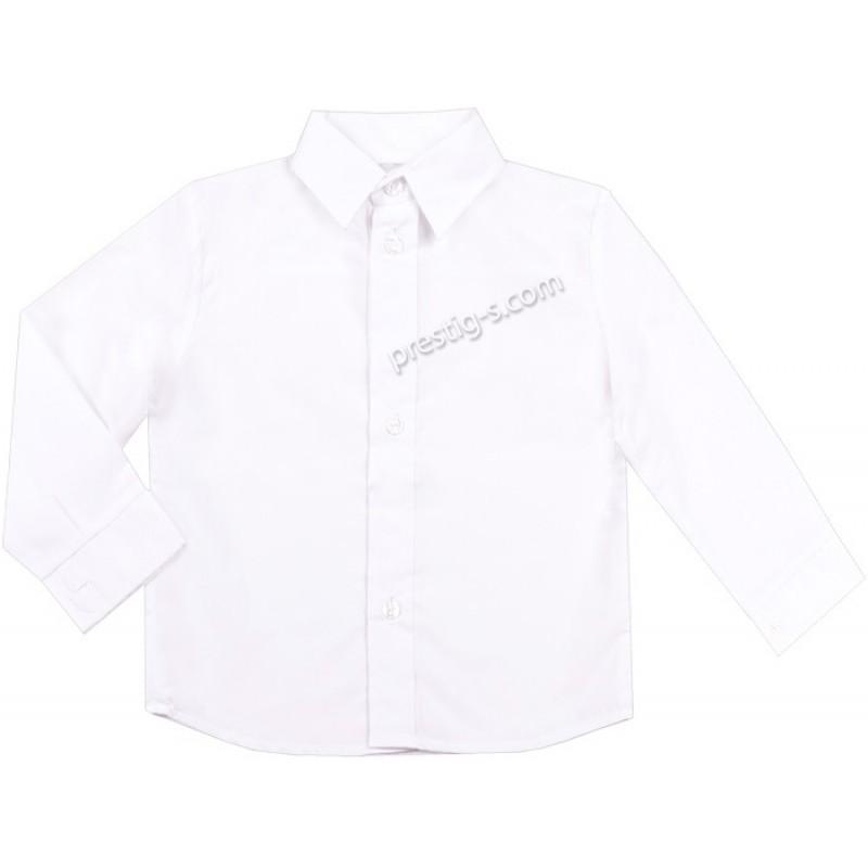 Риза с дълъг /навиващ се/ ръкав Момче /98-164/ в бяло