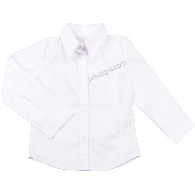 Риза с дълъг /навиващ се/ ръкав Момиче /98-164/ в бяло