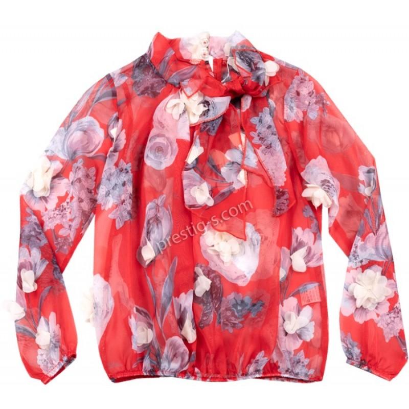Риза д.р. Цветя в червено /128-170/ м.600 880-5-шифон