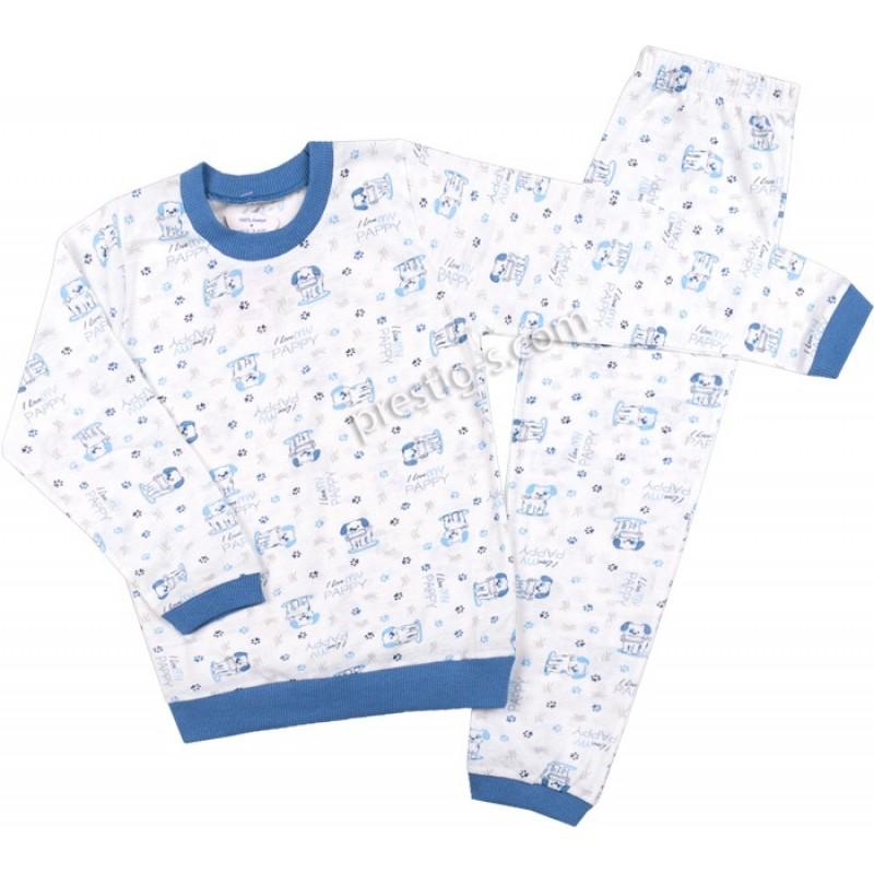 Пижама д.р. Момче щампа Kученца в бяло/синьо /86-116/ сингъл