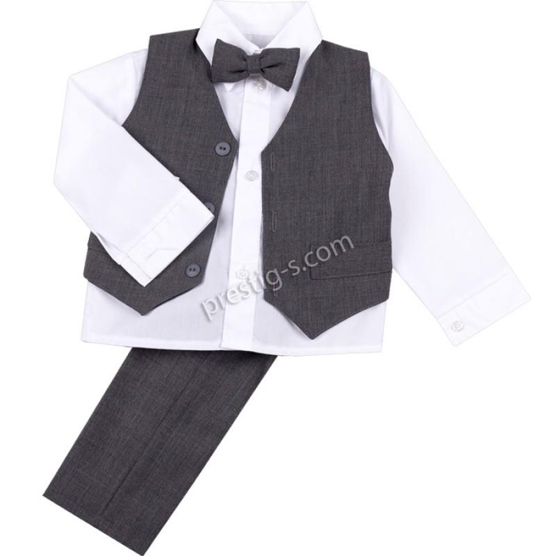 Костюм момче с елек и памучна риза /74-140/ в сиво
