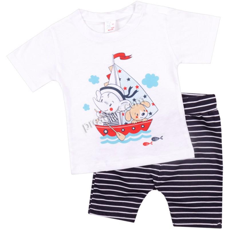 Тениска с къс потур Слонче моряк /62-80/ ликра