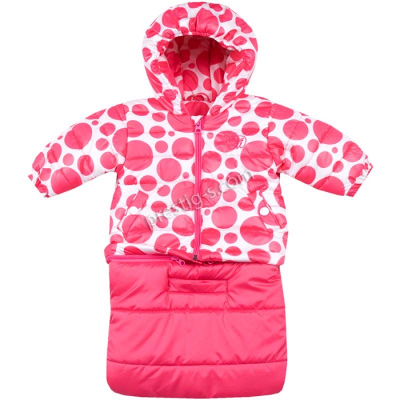Бебешко яке-чувалче Вега-М Точки в бонб.розово
