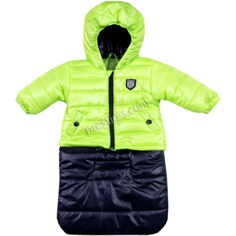 Бебешко яке-чувалче Вега-М в неон зелен/т.синьо