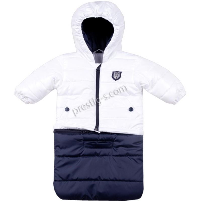 Бебешко яке-чувалче Вега-М в неон бяло/т.синьо