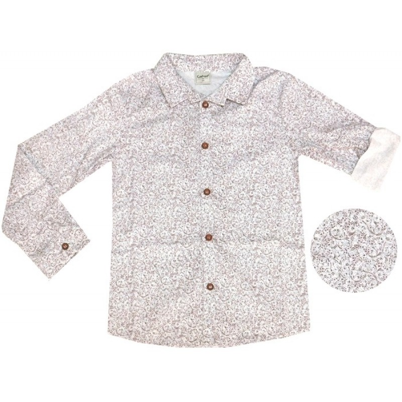Риза с навиващ се ръкав м.601 062-1 /128-152/ в бяло/бордо