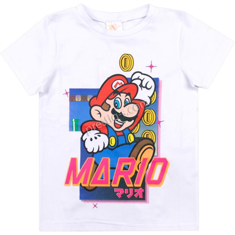 Тениска Марио в бяло /104-134/ ликра