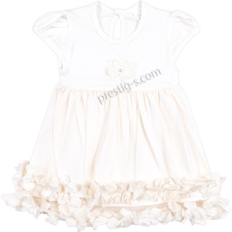 Бебешка рокля к.р. 3D Цветя в екрю /62-80/ ликра