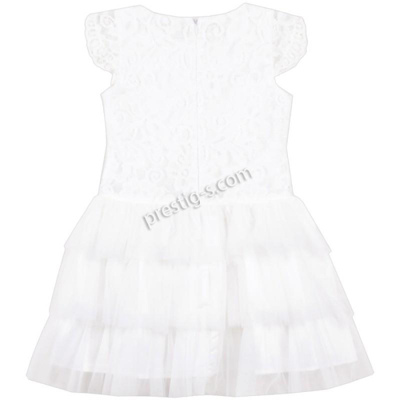 Рокля Дантела със сребърна панделка /104-152/ в бяло