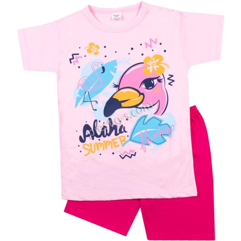 Пижама к.р. Фламинго в розово /122-134/ сингъл