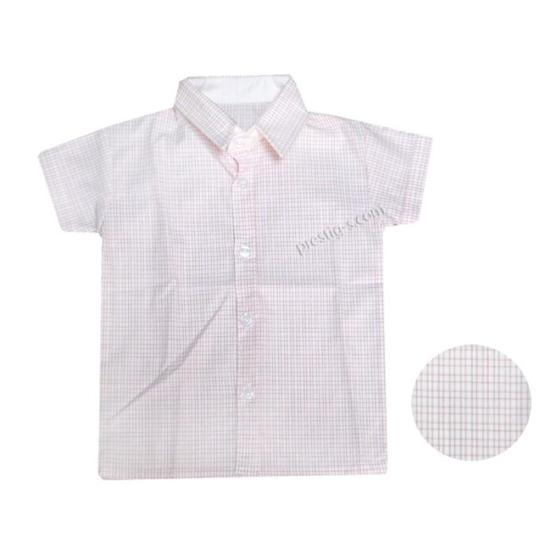 Риза момче Квадрати м.5 /80-92/ къс ръкав