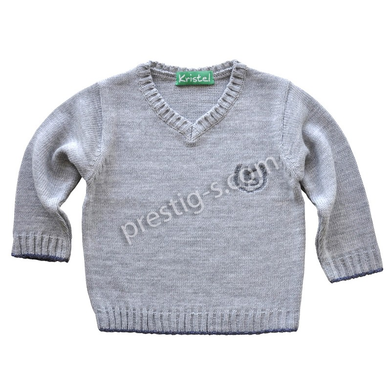Пуловер момче Кристел в сив меланж /80-152/ м.4001-1