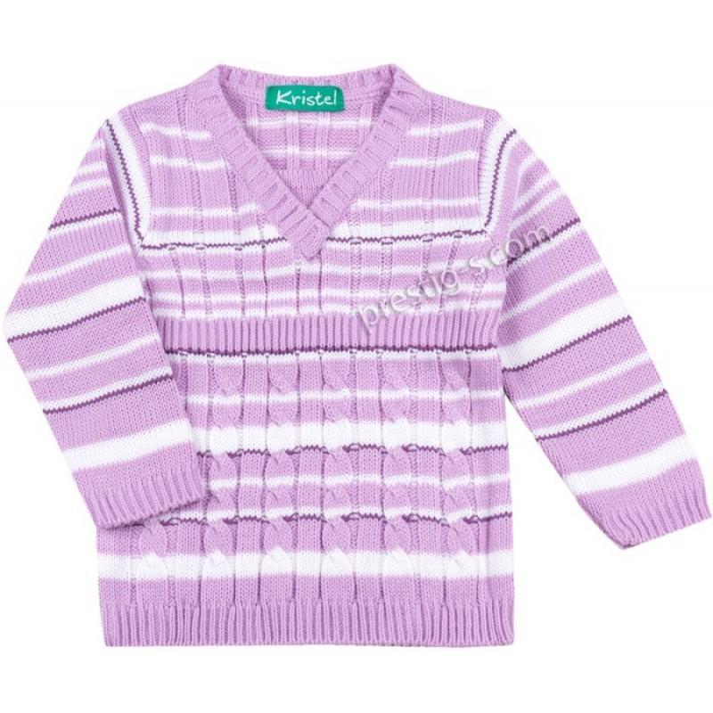 Пуловер момиче райе в лилаво/бяло /68-98/ м.1046-3 - плетиво