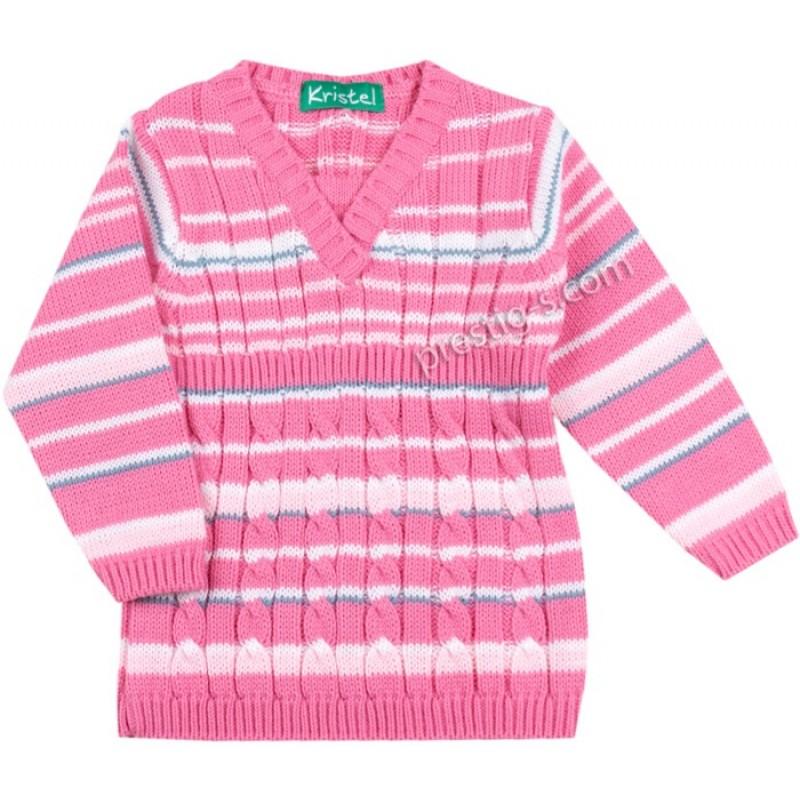 Пуловер момиче райе в розово /68-98/ м.1046-8 - плетиво