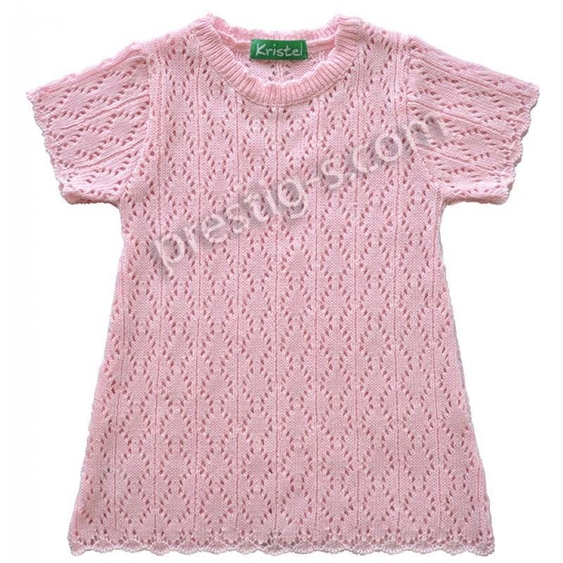 Туника къс ръкав момиче в розово /86-116/ м.4060-2 - ажур