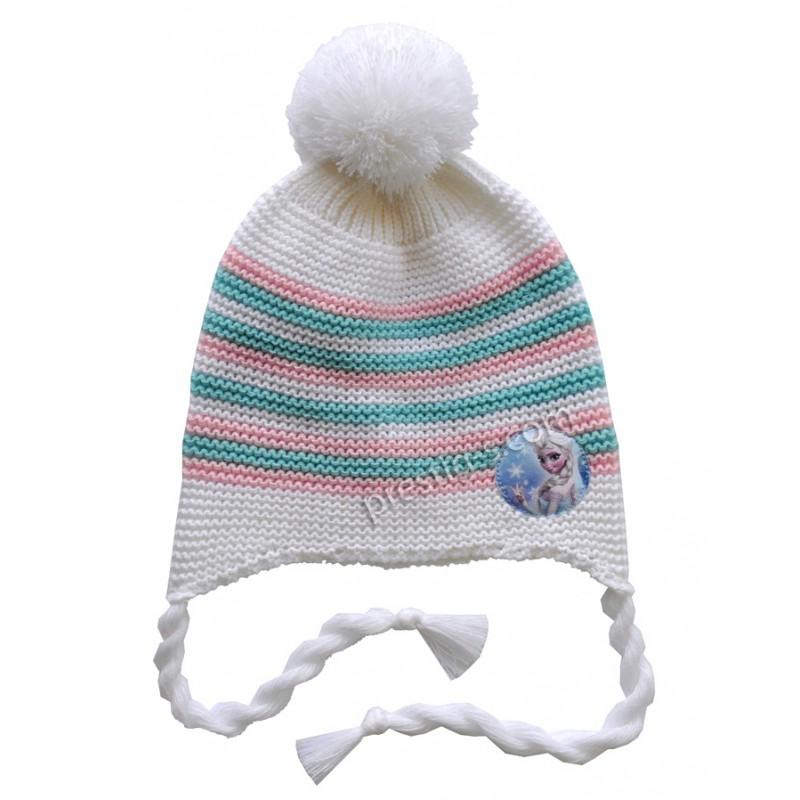 Шапка Момиче в бяло с райе м.6030-1 /плетиво/