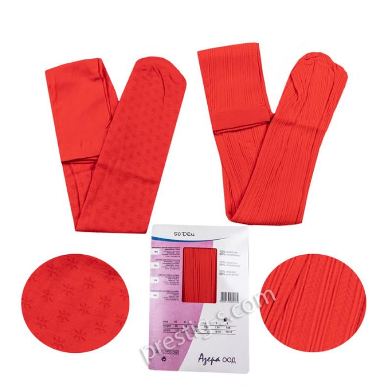 Чорапогащи с микрофибър Фигурален - 50 DEN /червен/