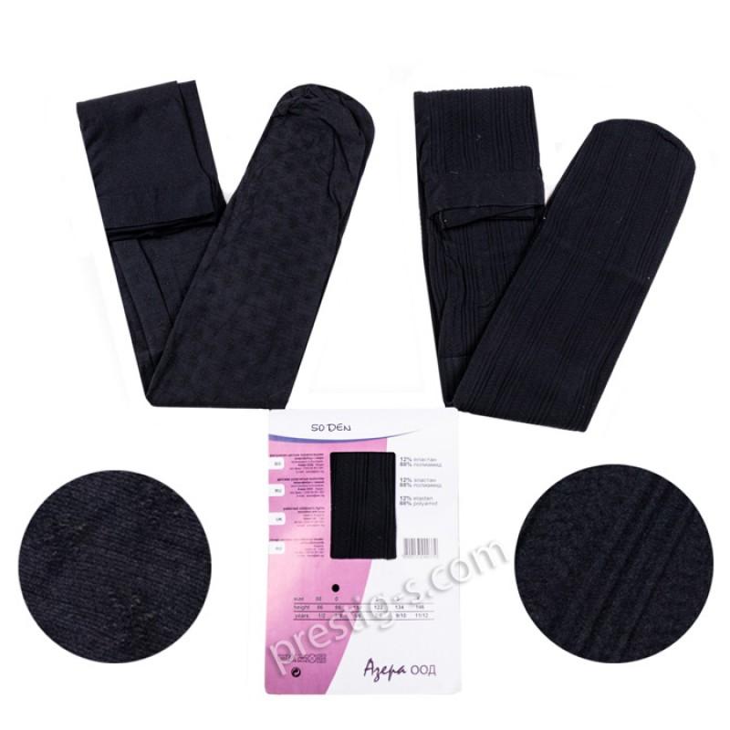 Чорапогащи с микрофибър Фигурален - 50 DEN /черен/