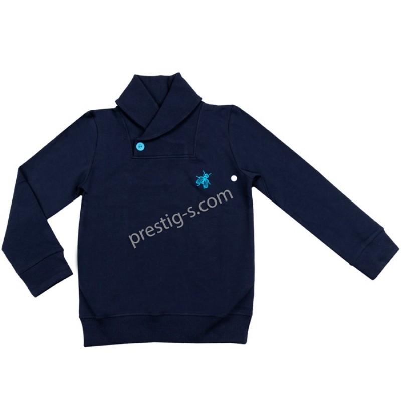 Блуза д.р. момче Яка в т.синьо /98-152/ ликра