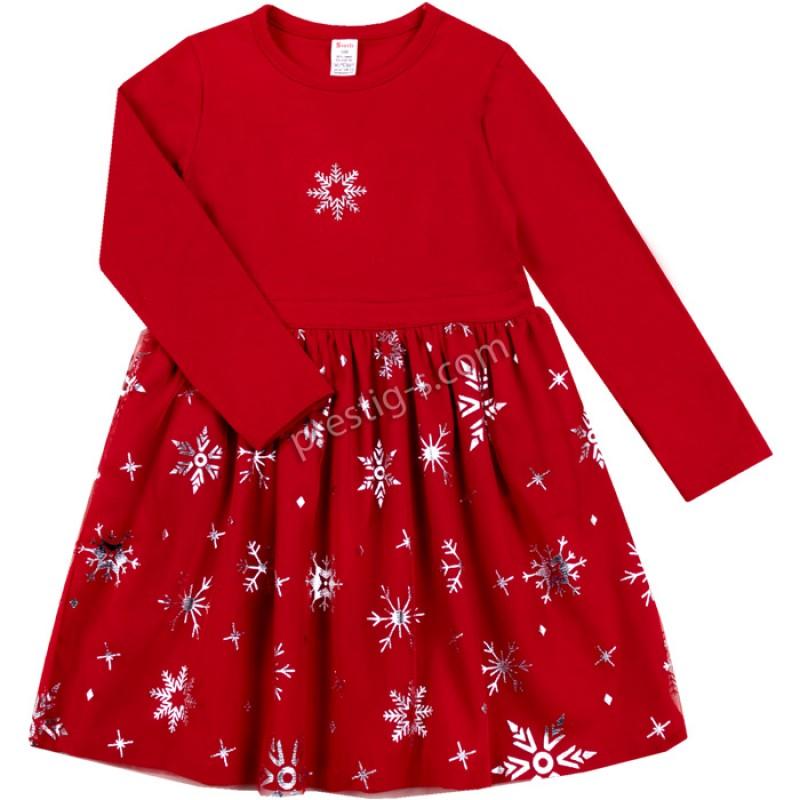 Коледна рокля Снежинки в червено /86-128/ л.вата-ликра