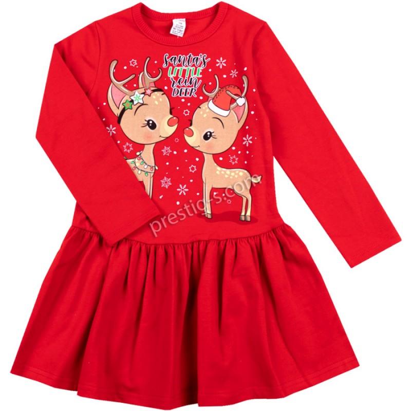Коледна рокля 2 Еленчета в червено /86-128/ л.вата-ликра