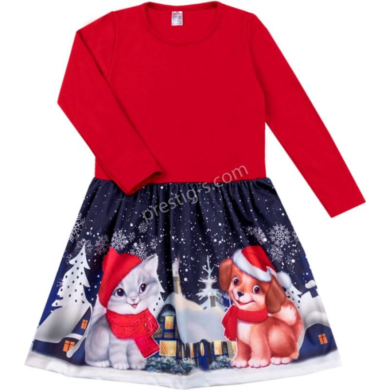 Коледна рокля Приятели /92-116/ л.вата-ликра