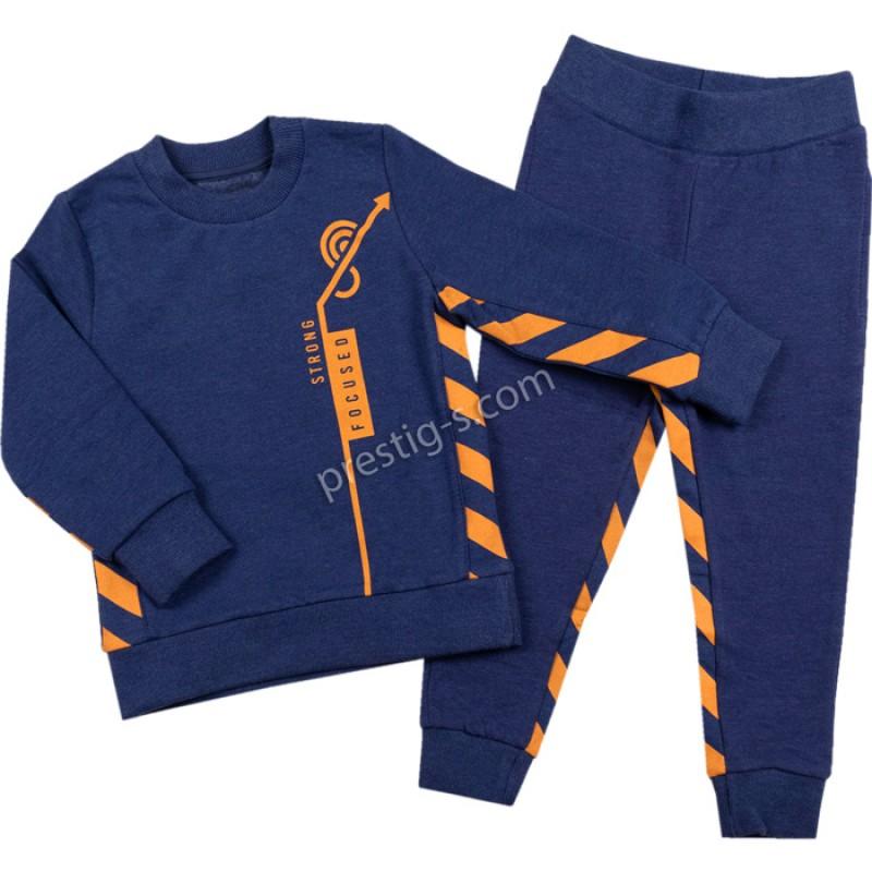 Комплект Момче в син меланж /110-140/ л.вата/ликра